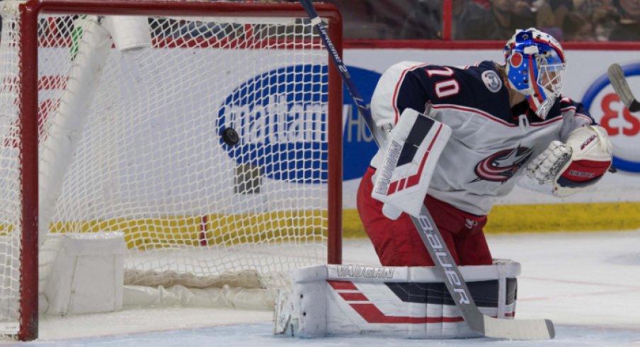 Columbus Blue Jackets goaltender Joonas Korpisalo is pictured making a save against the Ottawa Senators during the 2019 regular-season finale.