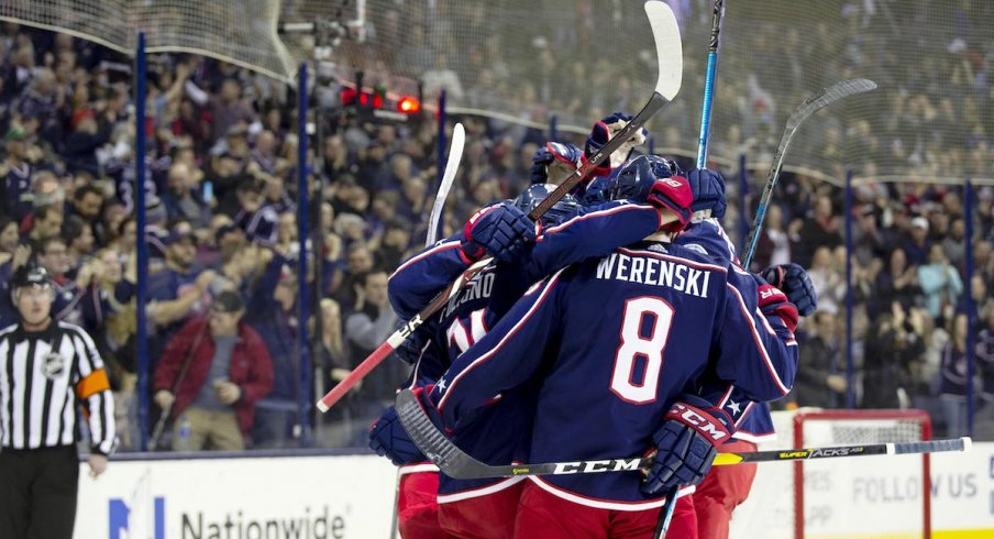 The Columbus Blue Jackets celebrate a goal scored by Zach Werenski against the Ottawa Senators at Nationwide Arena.