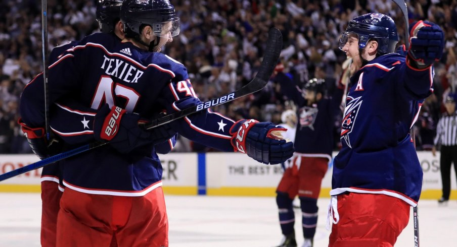 Alexandre Texier and Cam Atkinson celebrate a goal during the first round sweep of the Tampa Bay Lightning last season.