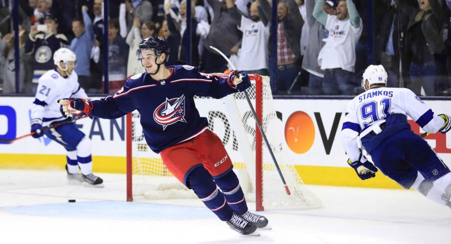 Apr 16, 2019; Columbus, OH, USA; Columbus Blue Jackets center Alexandre Texier (42) celebrates scoring an empty-net goal against the Tampa Bay Lightning in the third period during game four of the first round of the 2019 Stanley Cup Playoffs at Nationwide Arena.