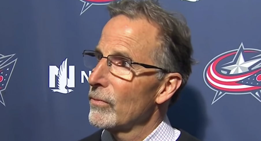Columbus Blue Jackets head coach John Tortorella addresses reporters during his exit day press conference at Nationwide Arena.