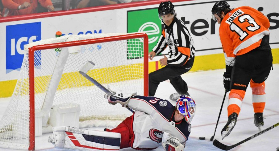 Oct 26, 2019; Philadelphia, PA, USA; Philadelphia Flyers right wing Kevin Hayes (13) scores a short-handed goal past Columbus Blue Jackets goaltender Joonas Korpisalo (70) during the third period at Wells Fargo Center.