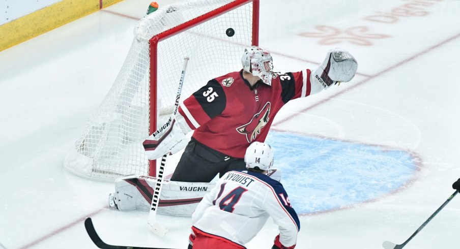 Nov 7, 2019; Glendale, AZ, USA; Columbus Blue Jackets center Gustav Nyquist (14) scores a goal past Arizona Coyotes goaltender Darcy Kuemper (35) in the first period at Gila River Arena.