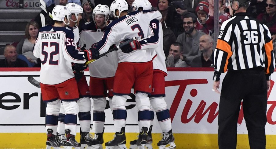 The newly-constructed Fourth Line celebrates a goal against the Montreal Canadiens