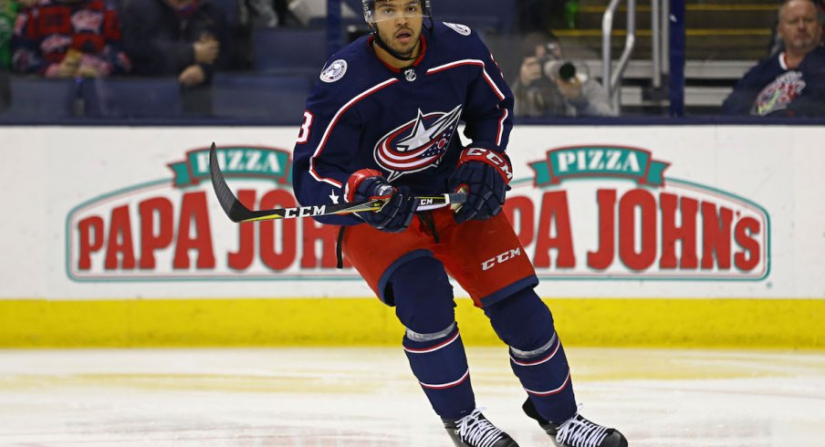 Columbus Blue Jackets defenseman Seth Jones (3) controls the puck against the Boston Bruins in the first period during game six of the second round of the 2019 Stanley Cup Playoffs at Nationwide Arena.
