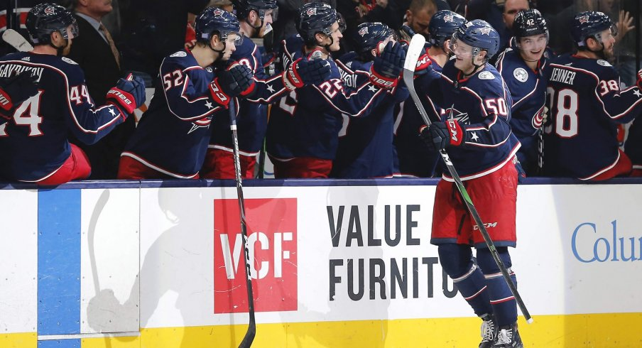 Nov 21, 2019; Columbus, OH, USA; Columbus Blue Jackets left wing Eric Robinson (50) celebrates after a goal against the Detroit Red Wings during the third period at Nationwide Arena.