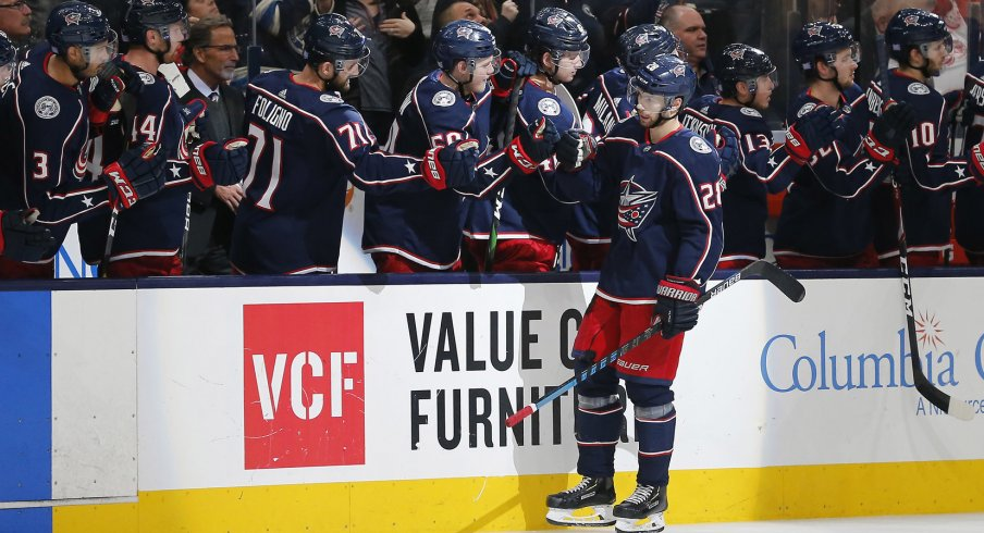 Nov 21, 2019; Columbus, OH, USA; Columbus Blue Jackets right wing Oliver Bjorkstrand (28) celebrates with teammates after scoring a goal during the third period against the Detroit Red Wings at Nationwide Arena. Mandatory Credit: Russell LaBounty-USA TODAY Sports