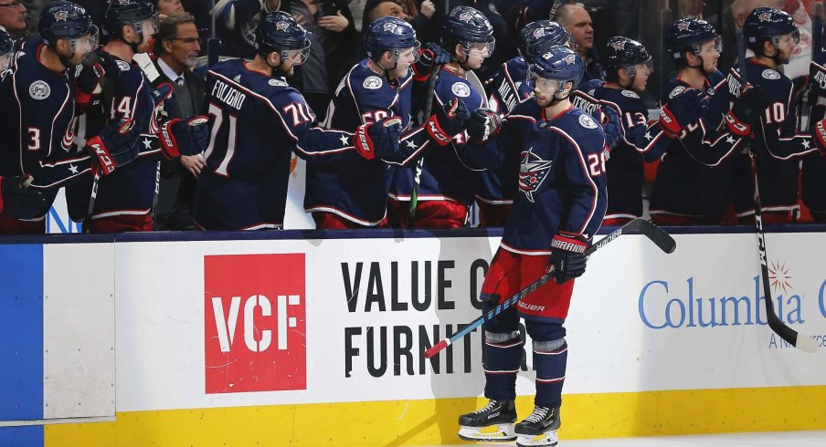 Nov 21, 2019; Columbus, OH, USA; Columbus Blue Jackets right wing Oliver Bjorkstrand (28) celebrates with teammates after scoring a goal during the third period against the Detroit Red Wings at Nationwide Arena.