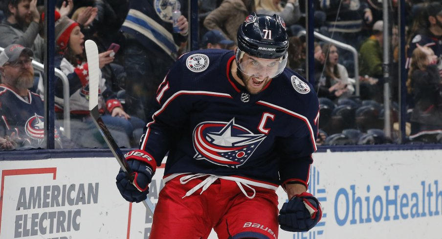 Nov 29, 2019; Columbus, OH, USA; Columbus Blue Jackets left wing Nick Foligno (71) celebrates after scoring a goal against the Pittsburgh Penguins during the second period at Nationwide Arena. Mandatory Credit: Russell LaBounty-USA TODAY Sports