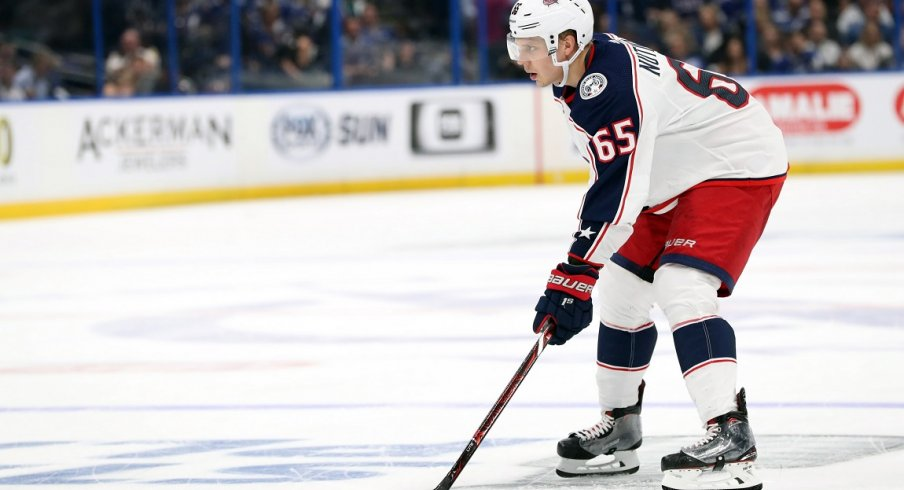 Columbus Blue Jackets defenseman Markus Nutivaara (65) during the second period of game one of the first round of the 2019 Stanley Cup Playoffs at Amalie Arena.