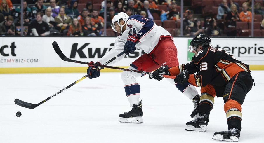 Blue Jackets defenseman Seth Jones shoots the puck on goal.