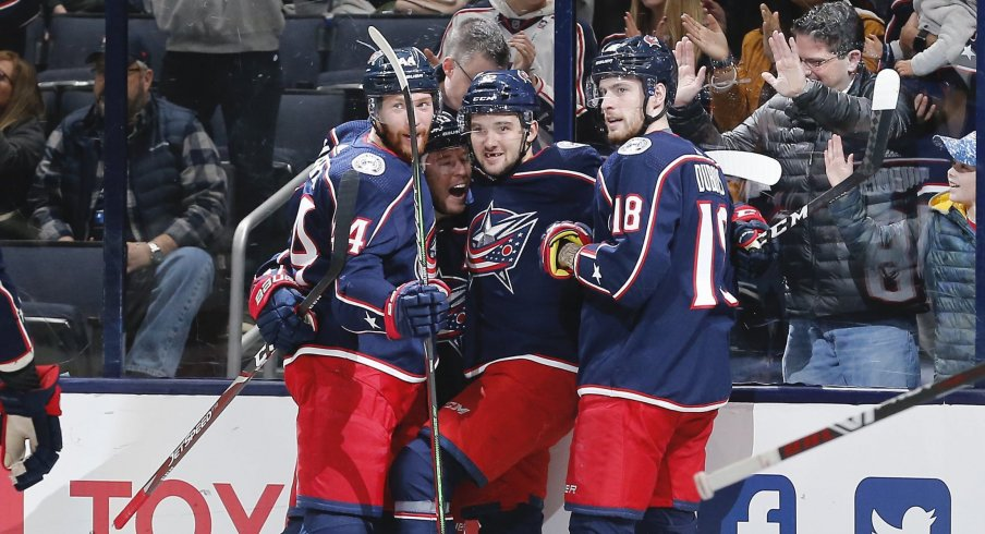 Jan 16, 2020; Columbus, Ohio, USA; Columbus Blue Jackets center Emil Bemstrom (52) celebrates after scoring a goal against the Carolina Hurricanes during the first period at Nationwide Arena.
