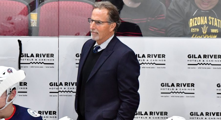Nov 7, 2019; Glendale, AZ, USA; Columbus Blue Jackets head coach John Tortorella looks on during the third period at Gila River Arena.