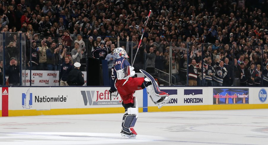 Dec 31, 2019; Columbus, Ohio, USA; Columbus Blue Jackets goalie Elvis Merzlikins (90) salutes the crowd after the game against the Florida Panthers at Nationwide Arena. Mandatory Credit: Russell LaBounty-USA TODAY Sports