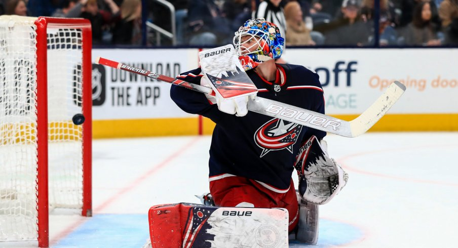 Feb 8, 2020; Columbus, Ohio, USA; Columbus Blue Jackets goaltender Elvis Merzlikins (90) reacts as he is unable to stop the game-winning goal by Colorado Avalanche center Nathan MacKinnon (not pictured) in the third period at Nationwide Arena. Mandatory Credit: Aaron Doster-USA TODAY Sports