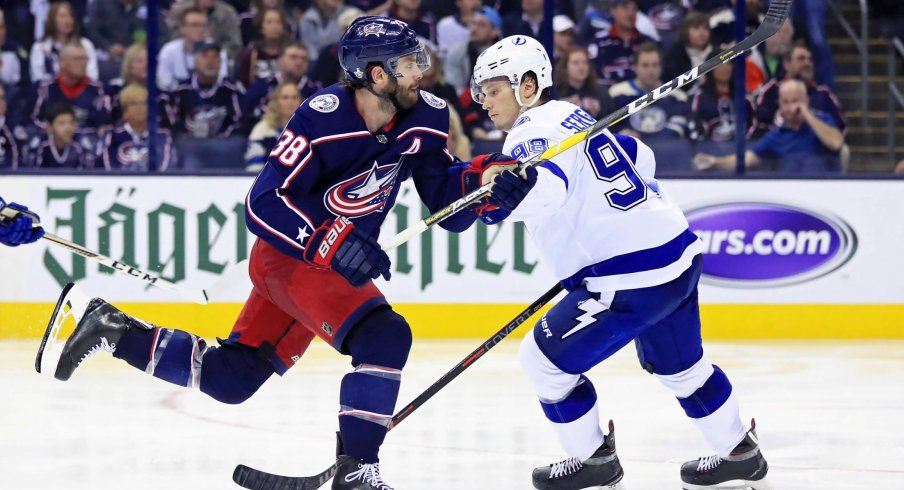 Boone Jenner has nine goals and ten assists for 19 points this season with the Columbus Blue Jackets.