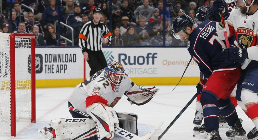 Nick Foligno tries to score on Florida Panthers goalie Sergei Bobrovsky