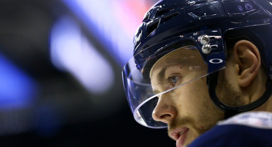 Columbus Blue Jackets forward Oliver Bjorkstrand looks on during pre-game warm-ups at Nationwide Arena.