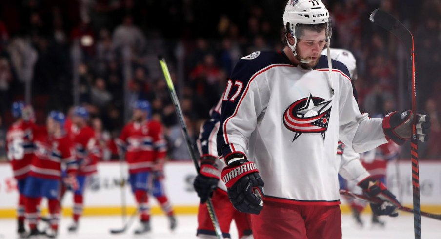 Columbus Blue Jackets right wing Josh Anderson (77) reacts after his team lost against Montreal Canadiens at Bell Centre