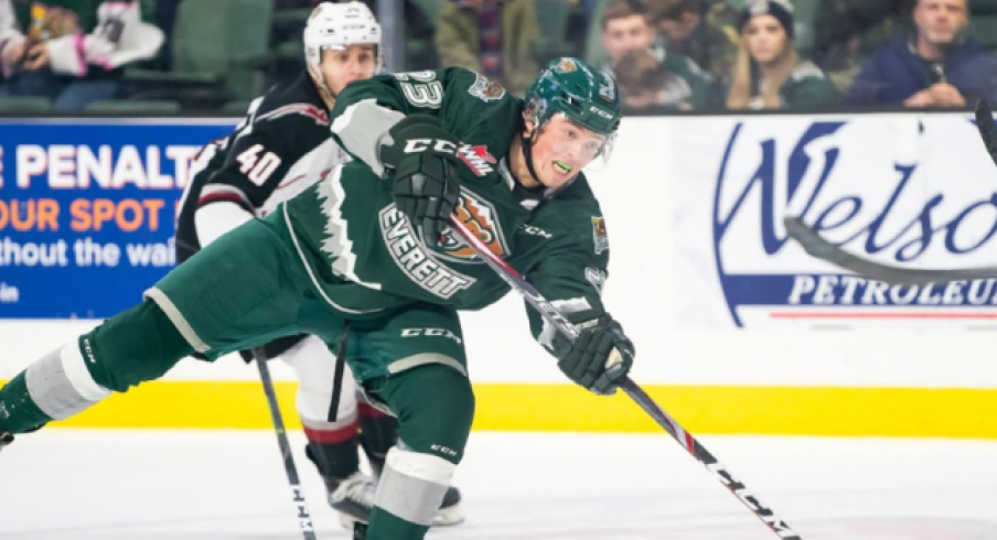 Jake Christiansen of the Everett Silvertips attempts a shot during a Western Hockey League game.