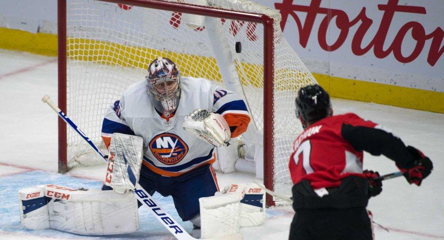 Ottawa Senators left wing Brady Tkatchuk (7) scores against New York Islanders goalie Semyon Varlamov (40) in the third period at the Canadian Tire Centre.