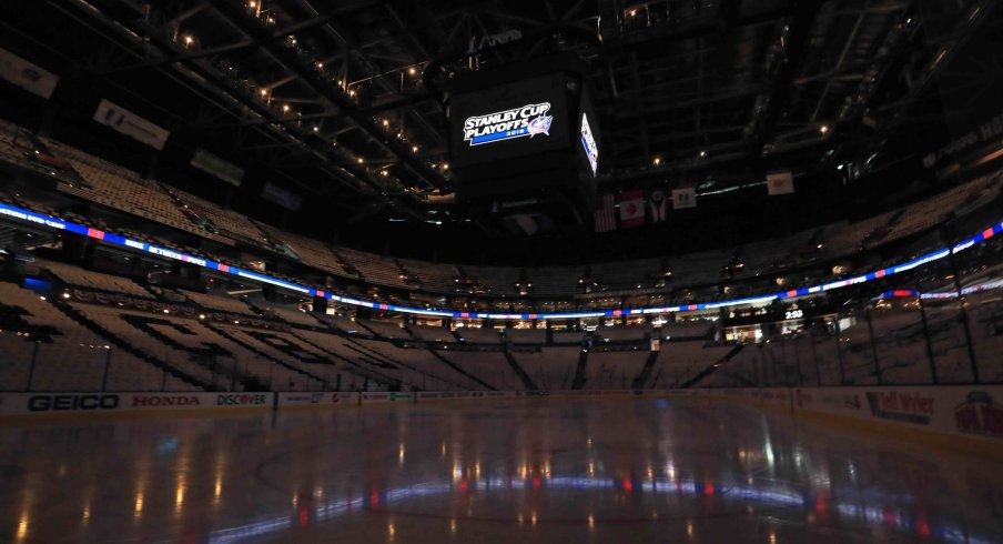 A view of the arena prior to game four of the first round of the 2019 Stanley Cup Playoffs between the Tampa Bay Lightning and the Columbus Blue Jackets at Nationwide Arena.