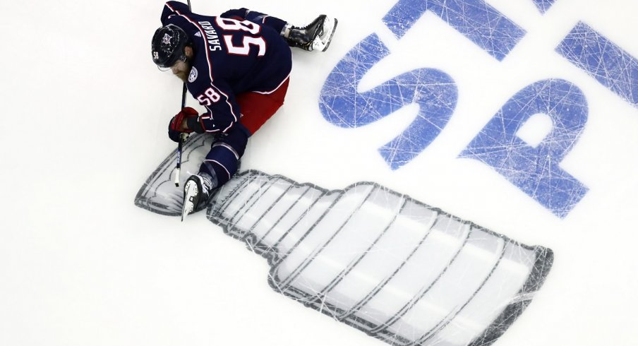 David Savard stretches during warmups before the 2019 Stanley Cup Playoffs
