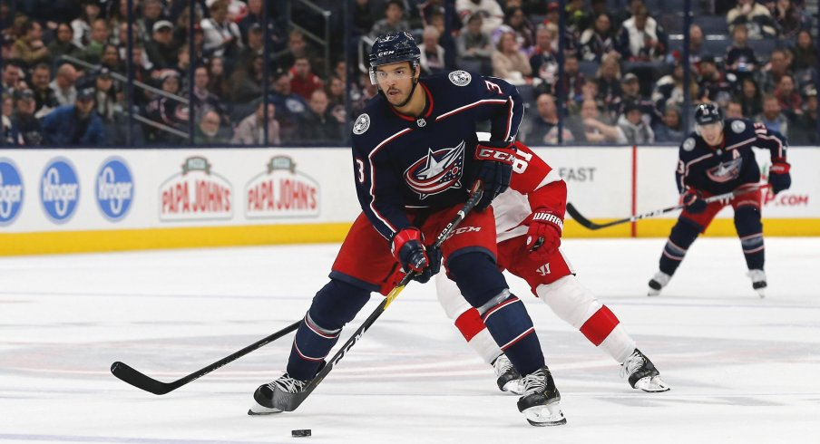 Nov 21, 2019; Columbus, OH, USA; Columbus Blue Jackets defenseman Seth Jones (3) controls the puck against the Detroit Red Wings during the second period at Nationwide Arena.