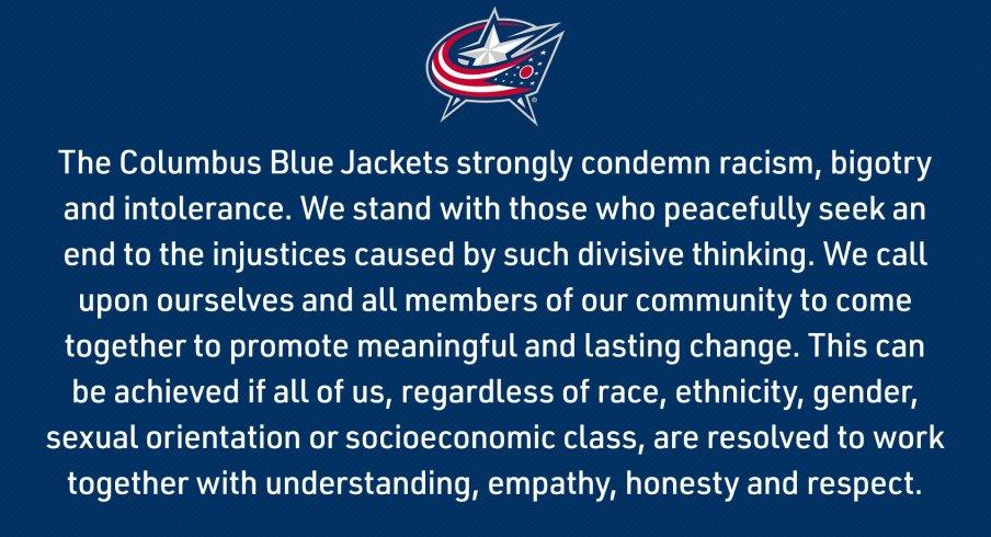 Blue Jackets' statement.