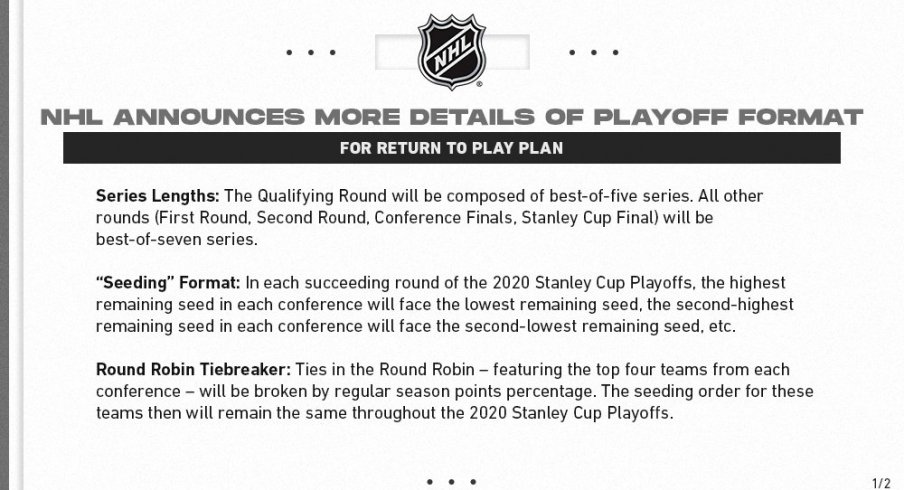 NHL update on the playoff format.