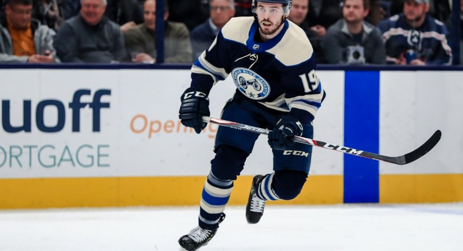 Liam Foudy skates in his NHL debut against the Tampa Bay Lightning