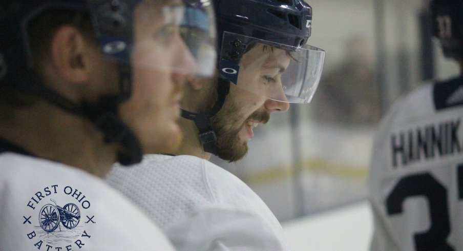 Columbus Blue Jackets forward Oliver Bjorkstrand prepares for a practice at the OhioHealth Ice Haus.