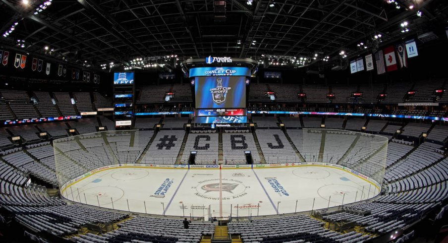 Nationwide Arena is prepared for Game 3 of the 2019 Stanley Cup Playoffs quarterfinal round between the Blue Jackets and Tampa Bay Lightning.
