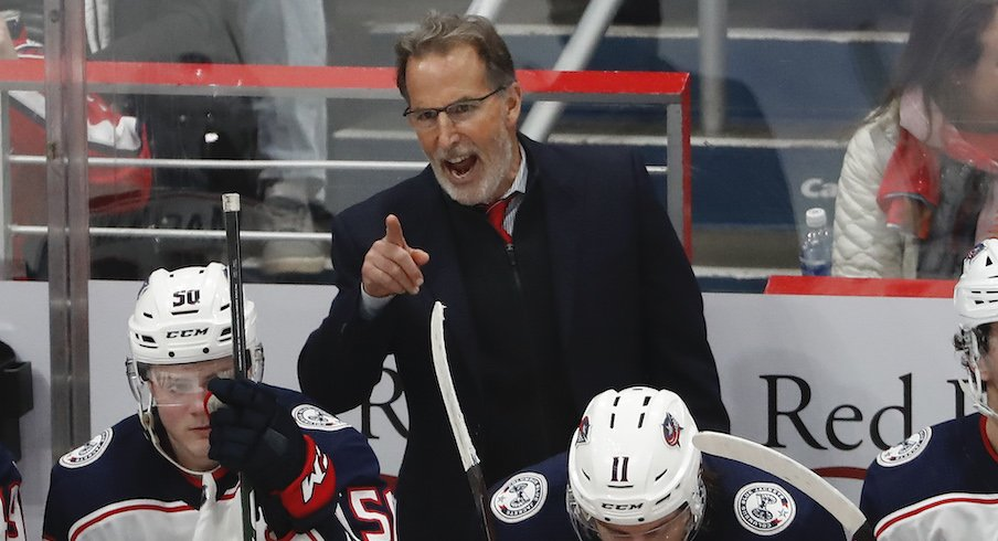 Columbus Blue Jackets head coach John Tortorella instructs his players during a training camp practice at the OhioHealth Ice Haus.
