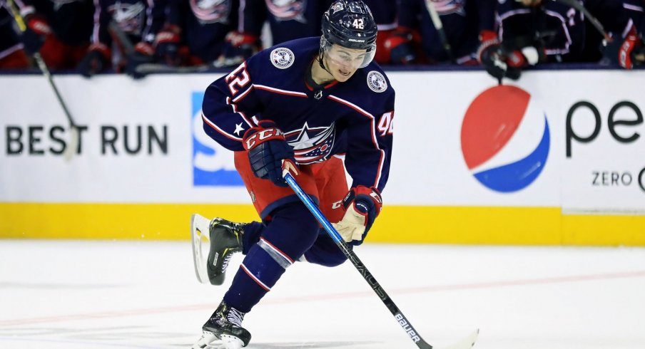Columbus Blue Jackets center Alexandre Texier (42) against the Tampa Bay Lightning in game four of the first round of the 2019 Stanley Cup Playoffs at Nationwide Arena.