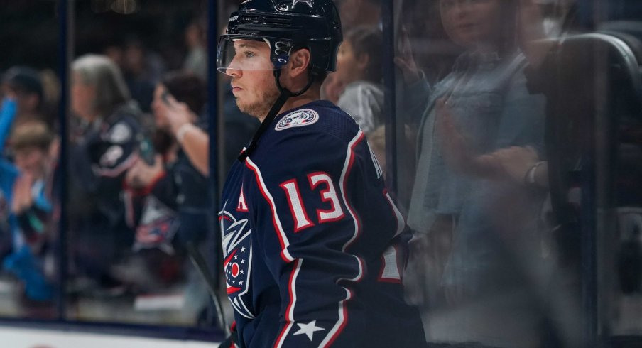 Columbus Blue Jackets right wing Cam Atkinson (13) skates on the ice prior to the game against the Buffalo Sabres at Nationwide Arena.