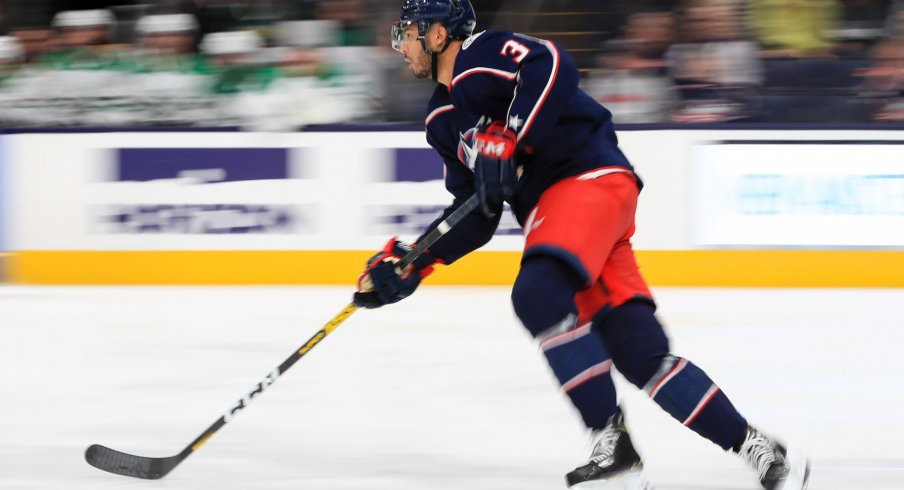Columbus Blue Jackets defenseman Seth Jones (3) controls the puck against the Dallas Stars in the second period at Nationwide Arena.