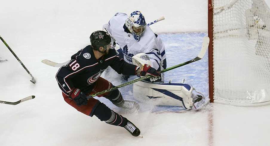 Pierre-Luc Dubois caps his hat trick with a game winner in overtime against the Toronto Maple Leafs.