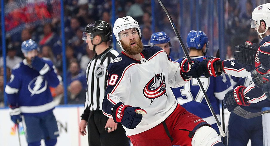 Davis Savard celebrates after scoring against the Tampa Bay Lightning in the 2019 Stanley Cup Playoffs.