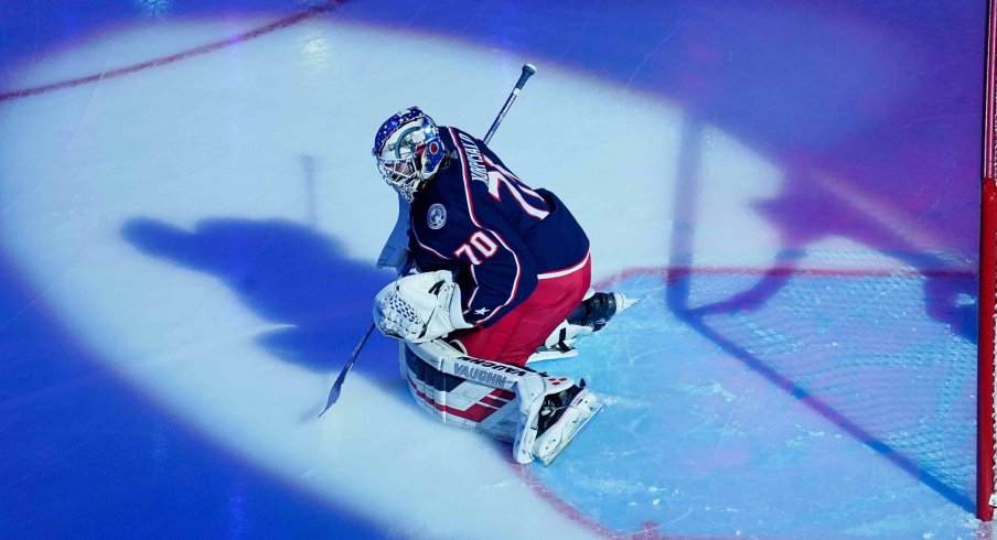 Columbus Blue Jackets goaltender Joonas Korpisalo (70) before game three of the first round of the 2020 Stanley Cup Playoffs against the Tampa Bay Lightning at Scotiabank Arena. Mandatory Credit: John E. Sokolowski-USA TODAY Sports