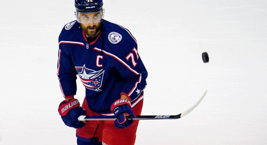 Columbus Blue Jackets left wing Nick Foligno (71) during warm up before game three of the first round of the 2020 Stanley Cup Playoffs at Scotiabank Arena.
