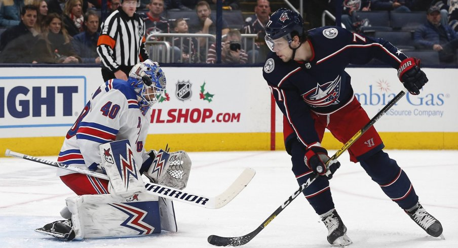 Dec 5, 2019; Columbus, OH, USA; New York Rangers goalie Alexandar Georgiev (40) makes a save against Columbus Blue Jackets right wing Josh Anderson (77) during the first period at Nationwide Arena.