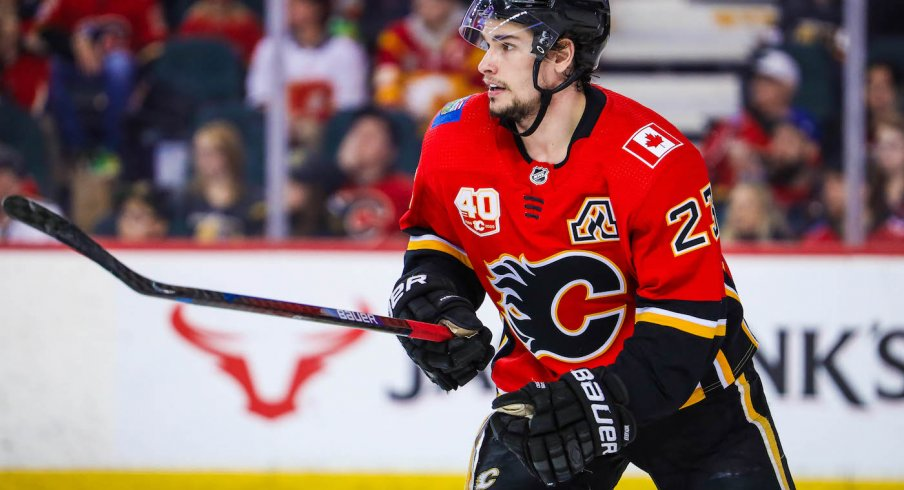 Calgary Flames center Sean Monahan (23) skates against the Vegas Golden Knights during the third period at Scotiabank Saddledome.