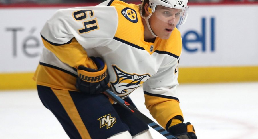 Mar 10, 2020; Montreal, Quebec, CAN; Nashville Predators center Mikael Granlund (64) skates during a second period face-off against Montreal Canadiens at Bell Centre.