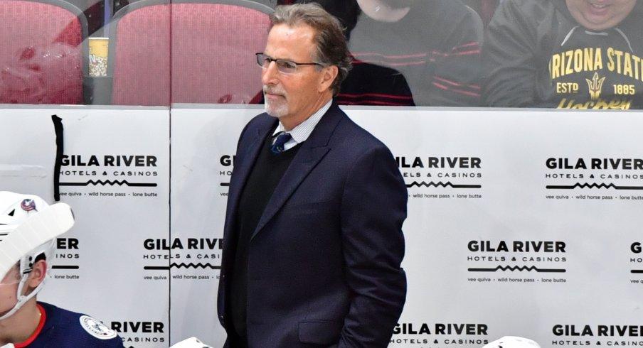 Nov 7, 2019; Glendale, AZ, USA; Columbus Blue Jackets head coach John Tortorella looks on during the third period \A| at Gila River Arena.
