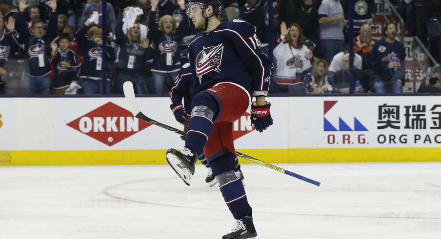 Columbus Blue Jackets forward Pierre-Luc Dubois celebrates a goal scored during the Stanley Cup Playoffs at Nationwide Arena.
