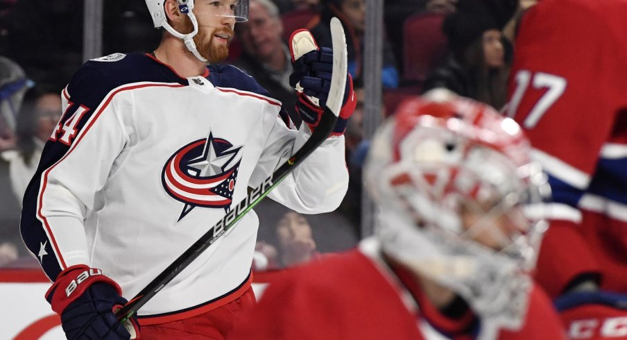 Columbus Blue Jackets defenseman Vladislav Gavrikov (44) reacts after scoring a goal against Montreal Canadiens goalie Carey Price (31) during the first period at the Bell Centre.