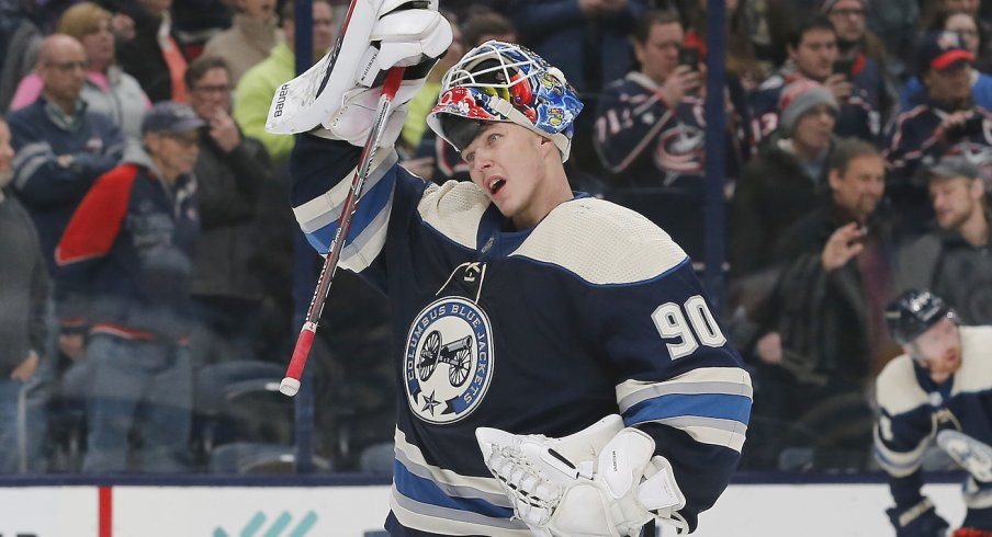 Columbus Blue Jackets goalie Elvis Merzlikins (90) during third period time out against the Winnipeg Jets at Nationwide Arena.