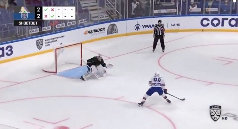 Kirill Marchenko takes the shootout attempt vs Daniil Tarasov