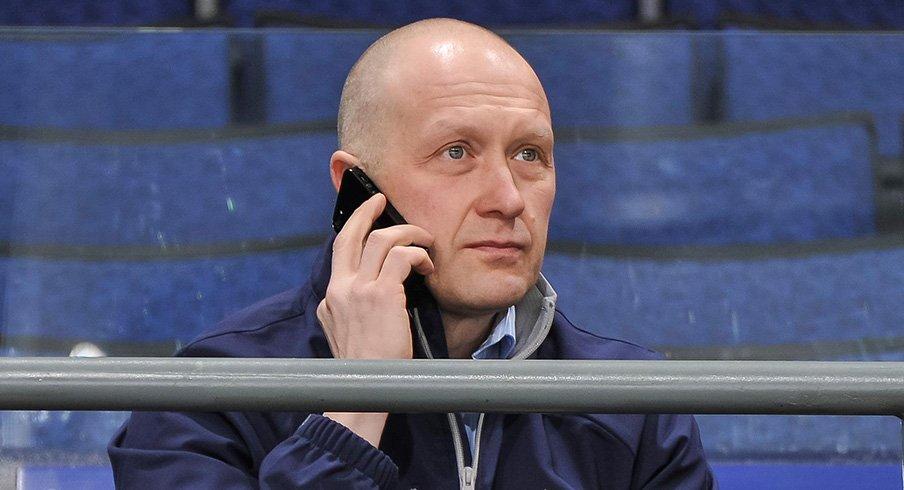 Blue Jackets GM Jarmo Kekäläinen speaks with media.